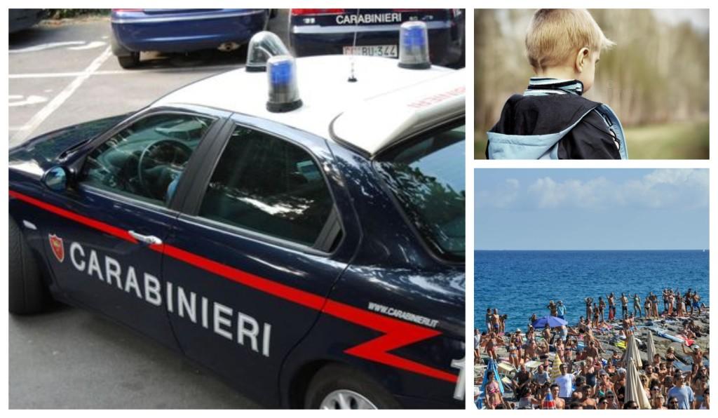 carabinieri bambino scomparso spiaggia