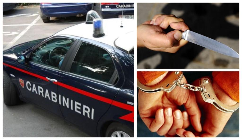 carabinieri coltello minaccia arresto