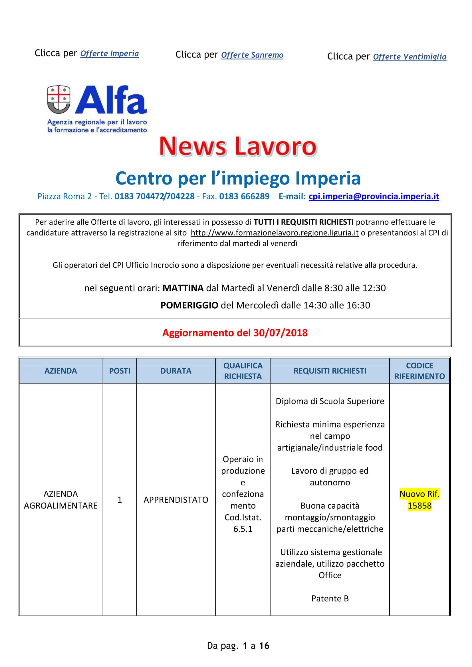 Ufficio Collocamento Roma Offerte Di Lavoro - To Whom It ...