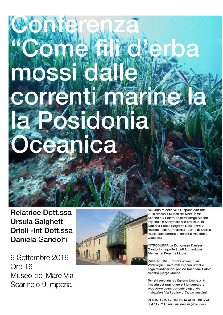 IMPERIA: VELE D'EPOCA, DOMENICA 9 SETTEMBRE AL MUSEO NAVALE LA CONFERENZA SULLA POSIDONIA OCEANICA/IL PROGRAMMA