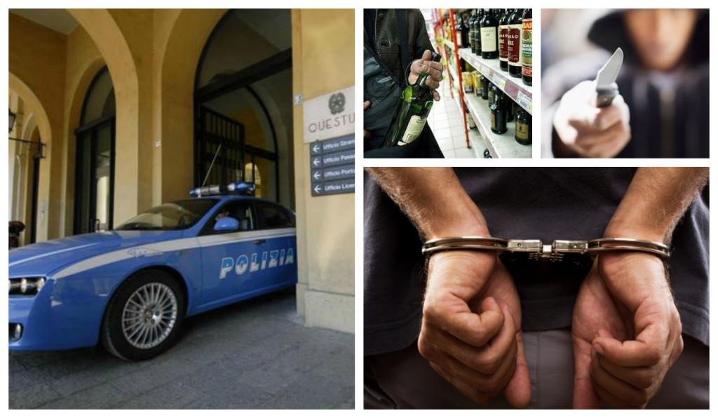 polizia furto bottiglie minaccia arresto