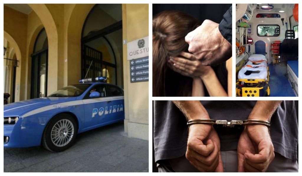questura arresto moglie figli minorenni aggressione