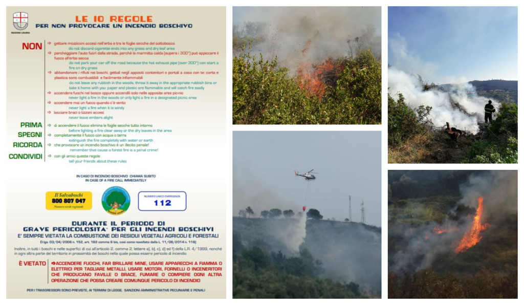 incendi fuochi regione liguria grave pericolosità