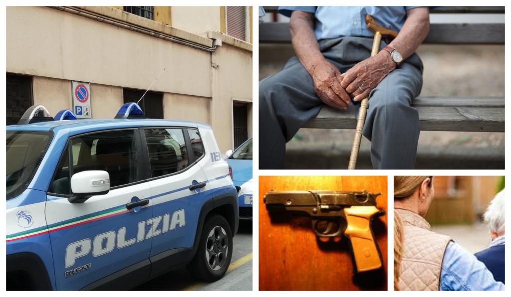 polizia pistola anziano badante