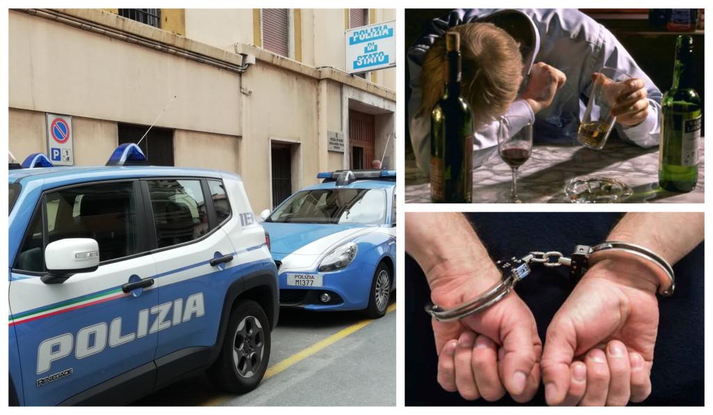 polizia ubriaco aggressione arresto
