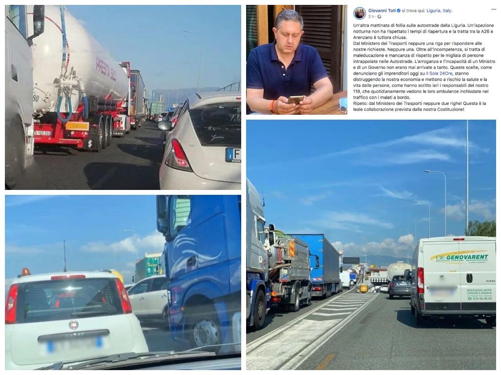 Autostrade nel caos, Toti: